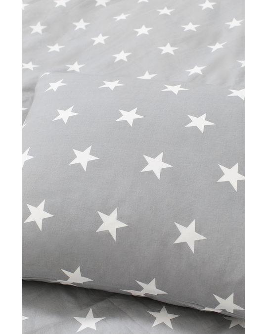 H&M HOME Patterned Duvet Cover Set Light Grey/stars