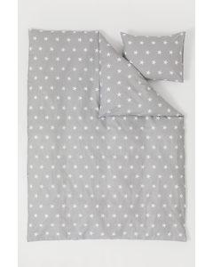 Patterned Duvet Cover Set Light Grey/stars