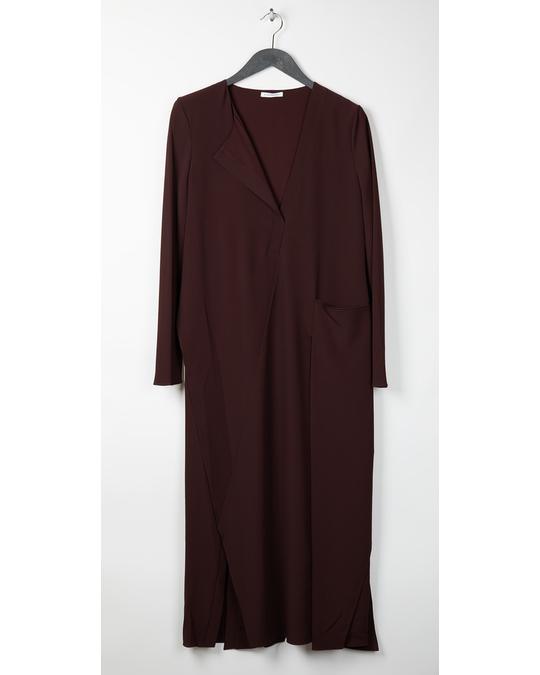 Nicole Farhi Long Drape Placket Dress Oxblood