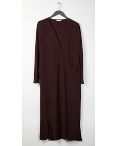 Long Drape Placket Dress Oxblood