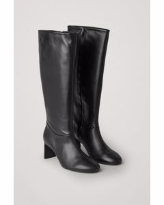 Knee High Heeled Leather Boots Black