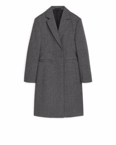 Fitted Wool Blend Coat Black/grey