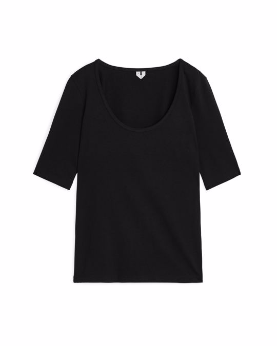 Arket Round-Neck Jersey Top Black