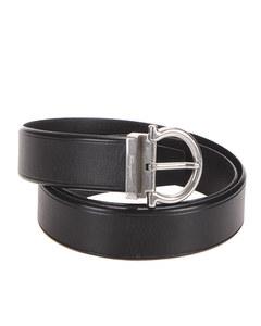 Ferragamo Gancini Leather Belt Black