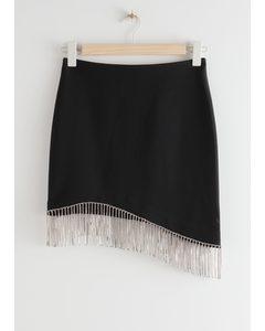 Asymmetric Diamanté Mini Skirt Black