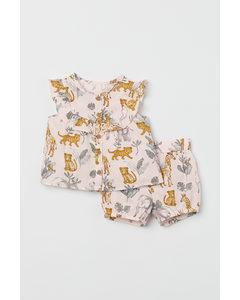 2-teiliges Baumwollset Puderrosa/Tiere