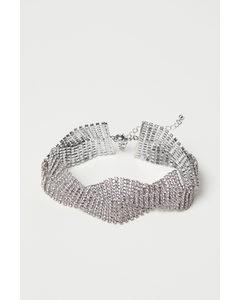 Kurze Halskette mit Strass Silberfarben