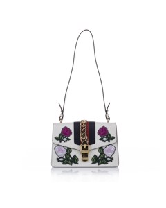 Gucci Embroidered Sylvie Leather Shoulder Bag White