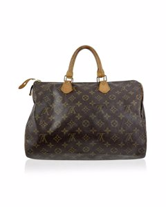 Louis Vuitton Vintage Monogram Canvas Handbag Speedy 35 Medium Wear