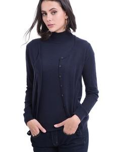 Round Collar Buttoned Cardigan
