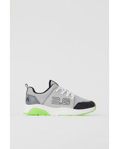 Sneakers Med Tryck Ljusgrå/nasa