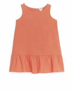 Ärmelloses Baumwoll-Musselin-Kleid Pfirsich