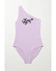 Badeanzug Porto mit Print Flieder/Drache
