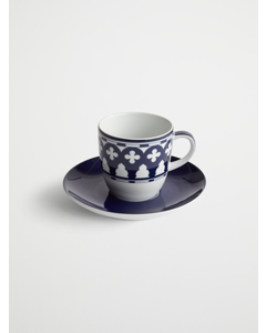 Palma Porcelain Espreso Cup W/ Sauc  7.5x12  Blue