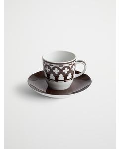 Palma Porcelain Espreso Cup W/ Sauc  7.5x12  Brown