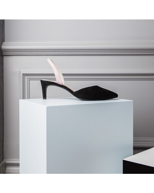 Flattered Emilia Pink Nappa / Black Suede Pumps