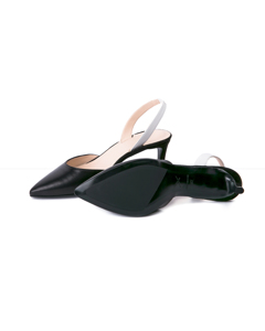 Emilia White Nappa / Black Nappa Pumps