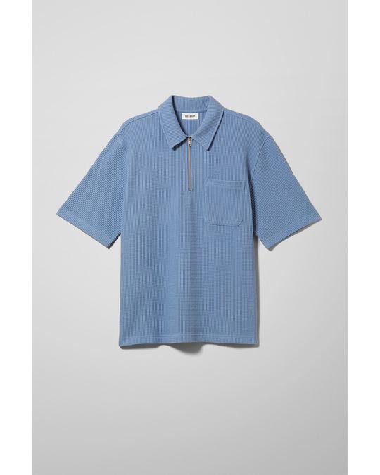 Weekday Arvid Waffle Half Zip T-shirt Blue