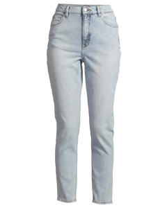 High Rise Cropped Denim Trousers Blue