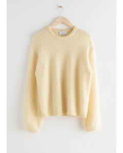 Fuzzy Wool Blend Sweater Light Yellow