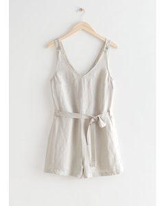 Belted Linen Romper White