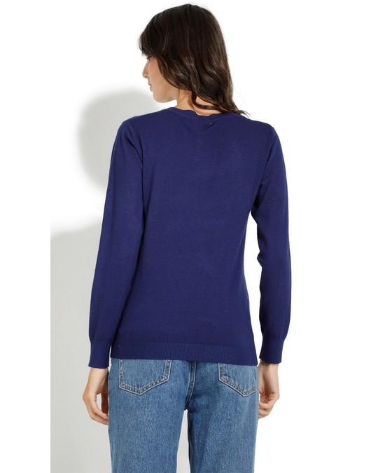 William de Faye Openwork Round Collar Sweater