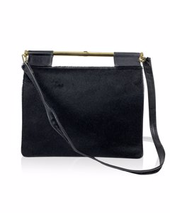 Gucci Vintage Black Pony Hair And Leather Handbag Shoulder Bag