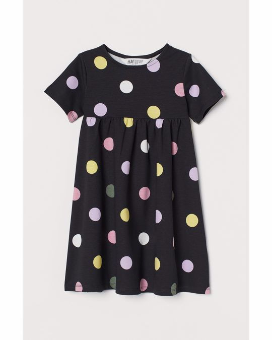 H&M Kleid aus Baumwolljersey Schwarz/Gepunktet