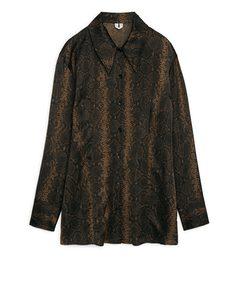 Snakeskin Waisted Shirt Brown