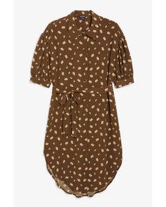 Puff Sleeve Midi Dress Brown Floral Print