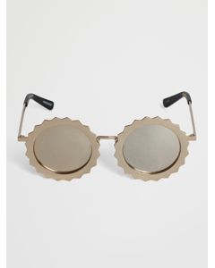 Seeing Stars Gold Mirrorred Round Sunglasses Gold