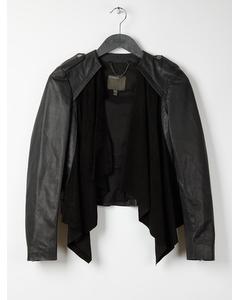 Muubaa Lupus Draped Black Suede And Leather Jacket  Black