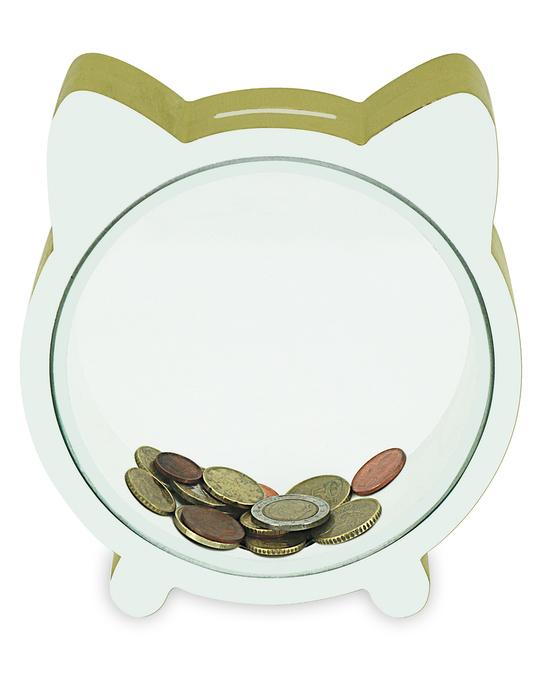 Potimarron Piggy Bank Kitty Glitter 15x5x16.5 Gold