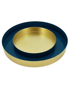 Set Of 2 Trays Nicosie 30x30x3.5   Blue