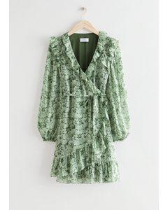 Ruffled Mini Wrap Dress Green Print