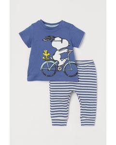 2-teiliges Baumwollset Blau/Snoopy