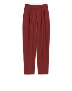 Wool Twill Trousers Dark Red