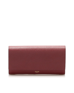 Celine Leather Long Wallet Red
