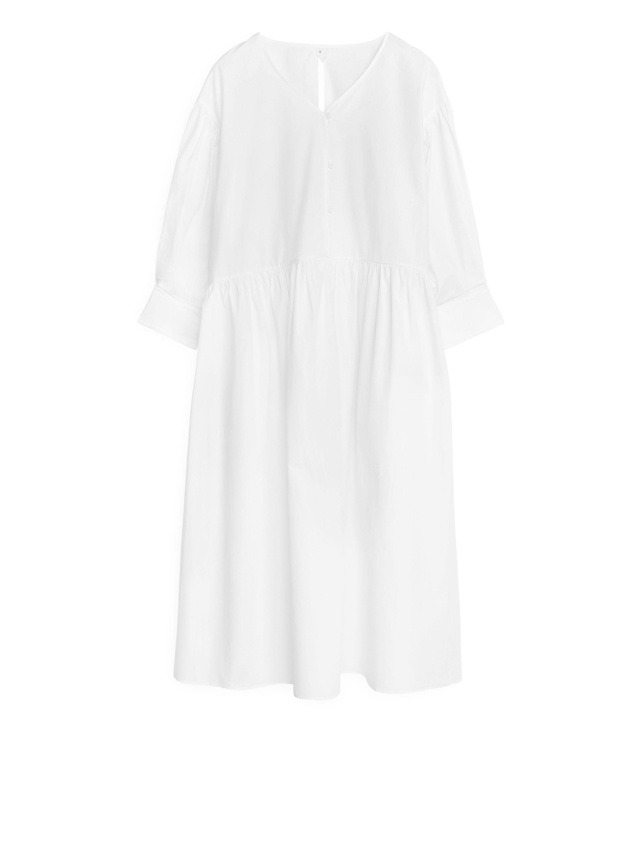 Weites Popeline Kleid Weiß