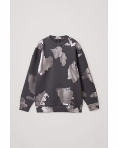 Printed Cotton Sweatshirt Grey / Silver