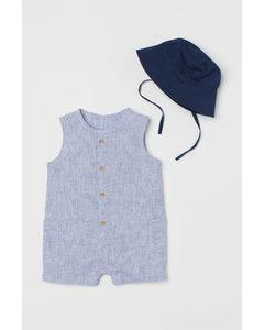2-teiliges Baumwollset Blau/Gestreift