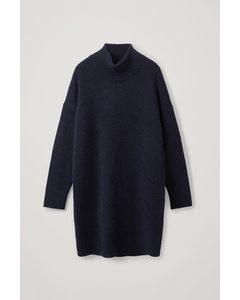 Knitted Wool-alpaca Dress Navy