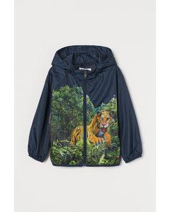Windjacke mit Kapuze Marineblau/Tiger