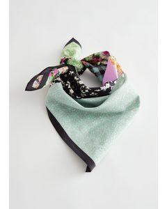 Patchwork Cotton Silk Blend Scarf Multi Floral