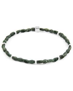 Anchor & Crew Green Jade Tekapo Silver And Stone Bracelet