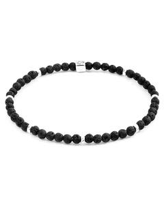 Anchor & Crew Black Lava Tekapo Silver And Stone Bracelet