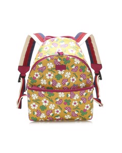 Gucci Childrens Mushroom Print Coated Canvas Backpack Yellow