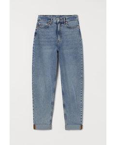 Mom High Ankle Jeans Ljus Denimblå