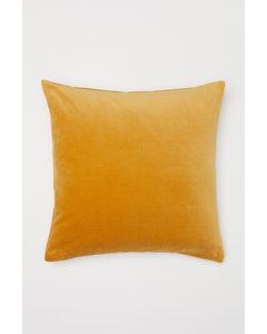 Kissenhülle aus Baumwollsamt Gelbbraun