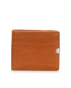 Ferragamo Embossed Leather Small Wallet Brown